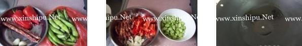 蚕豆红椒炒腊肠的做法图