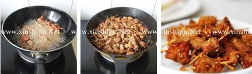 第3步自制烧烤味的牙签肉的做法图片