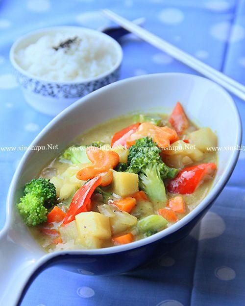 第1步椰香咖喱蔬菜烩饭的做法图片